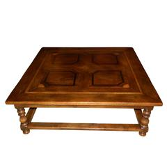 Large Square Coffee Table with Inlay Design, 20th Century