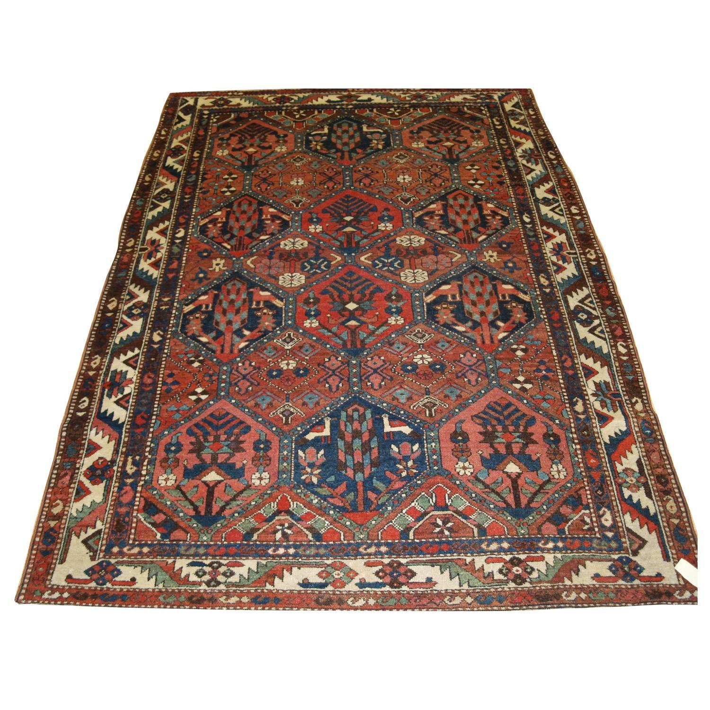 Antique persian bakhtiari 39 garden design 39 rug birds and for Garden design 1920 s