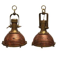 Pair of Rare Large Nautical Copper and Brass Ship's Deck Lights, Mid-Century