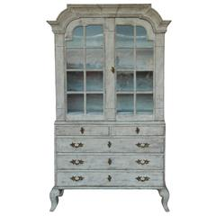 Swedish Rococo Period Antique Vitrine Cabinet, 18th Century