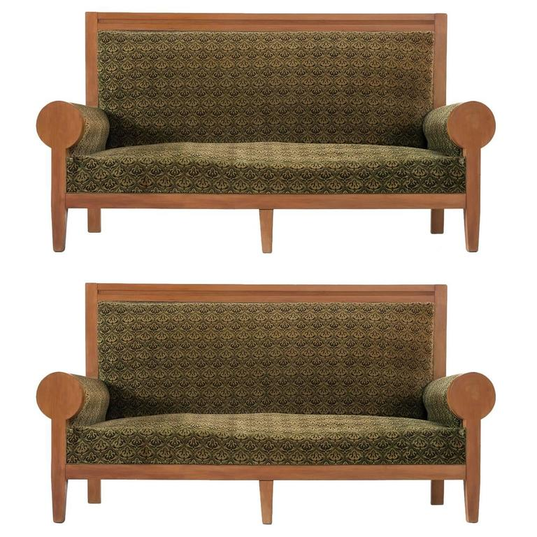 Pair of Italian High Back Sofa's in Green Fabric Upholstery
