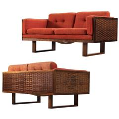 Paul Cadovius Set of Two Small Rosewood Sofa's in Orange Fabric Upholstery