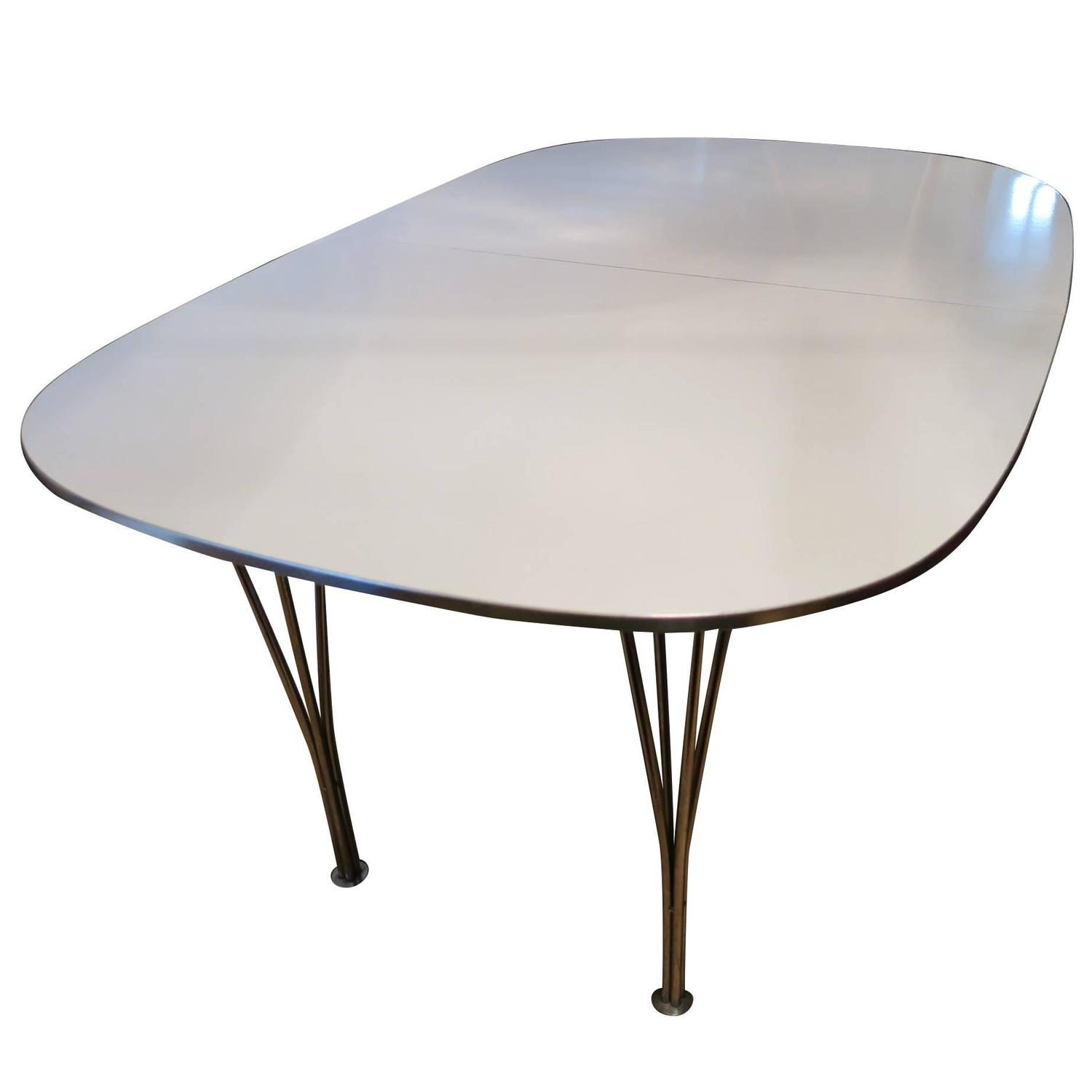 Danish Elliptical Extendable Table With Hairpin Legs, Mid Century For Sale  At 1stdibs