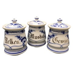 Set of Three Bavarian Blue and White Ceramic Spice Jars with Lids