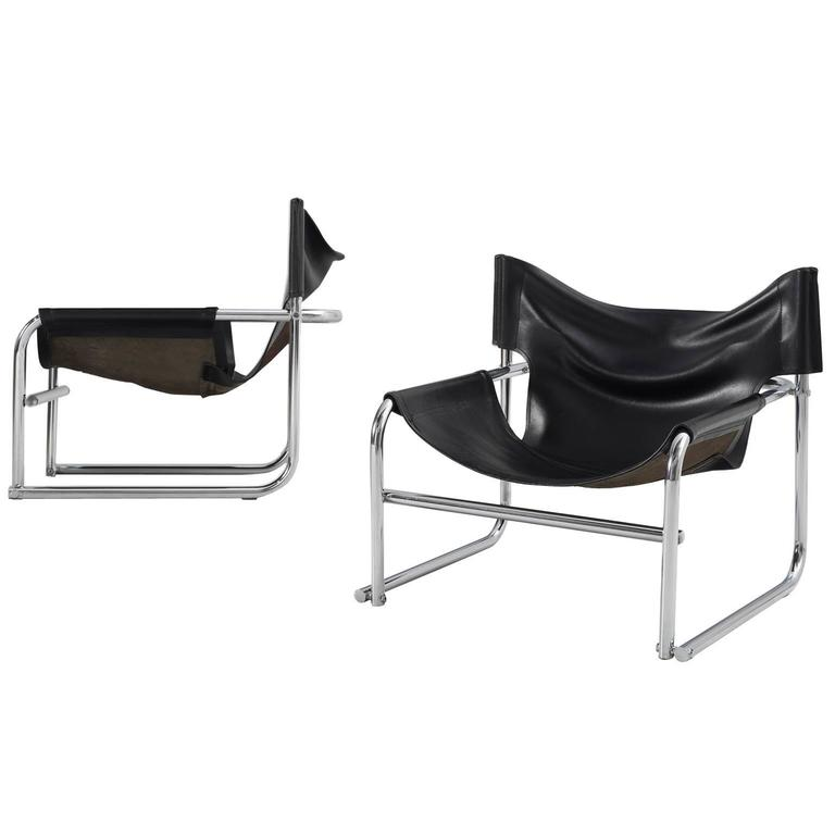 Rodney Kinsman Set of Two Tubular Easy Chairs in Black Leather