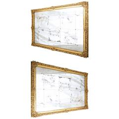 Monumental Pair of 19th Century Baroque Giltwood Wall Mirrors, 9' x 6'
