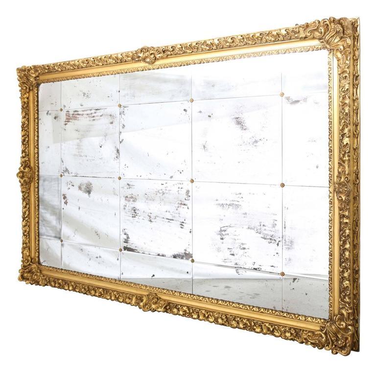 Monumental 19th Century Baroque Giltwood Wall Mirror, 9 foot x 6 ...