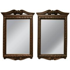Pair of Solid Bronze Neoclassical Mirrors