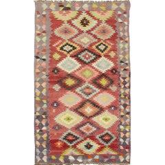 Colorful Turkish Kilim Carpet with Geometric Design