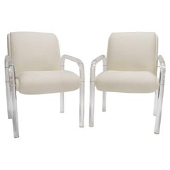 Pair  Heavy Leon / Lion in the Frost Lucite Armchairs with New White Upholstery