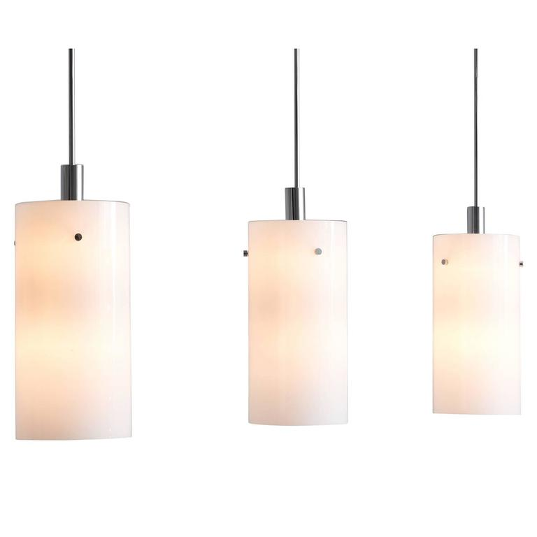 Set of Ten Large Pendants in with White Glass Shade