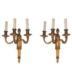 Wonderful Pair Neoclassical Urn Three-Arm Regency Caldwell Empire Sconces