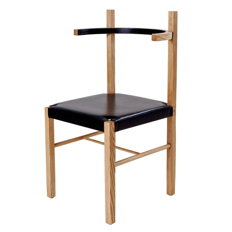 Soren Chair in Cinnamon Ashwood and Black Leather For Sale