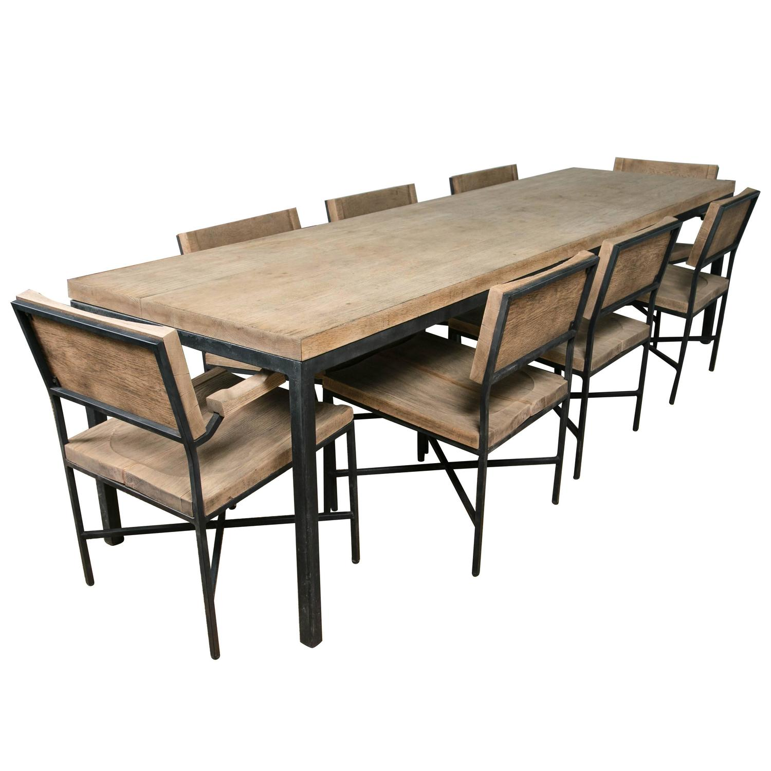 knoll drake dining table and eight chairs for sale at 1stdibs