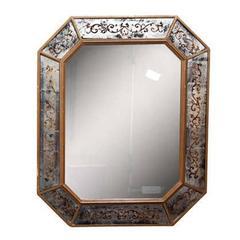 French Églomisé Mirror Circa 1940's by Maison Jansen Bronze Framed
