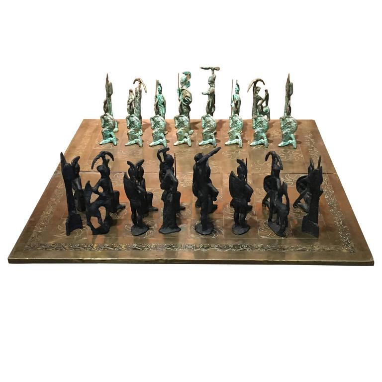 Large Italian 1960s Brutalist Etruscan Bronze Chess Set