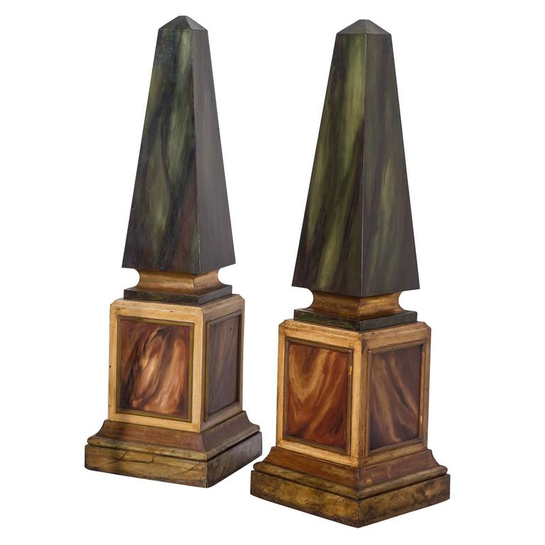 Vintage French Pair Faux Painted Theatrical Obelisks circa 1950