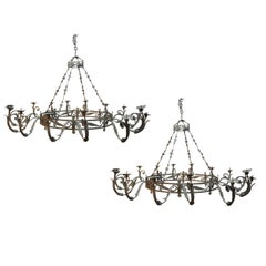 Pair of Outstanding and Monumental, Italian, 18th Century Iron Chandeliers