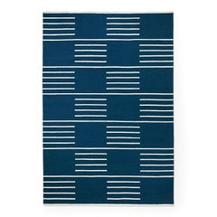 Modern Dhurrie/Kilim Rug in Swedish Design. Classic Blue/Cream 5'x8'.