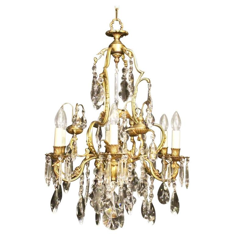 French Gilded And Crystal Six Light Chandelier At 1stdibs