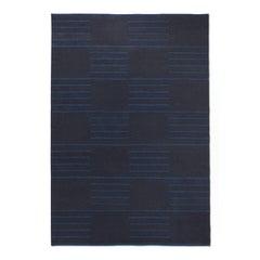 Modern Dhurrie/Kilim Rug in Swedish Design. Classic Charcoal/Teal 6'x9'.