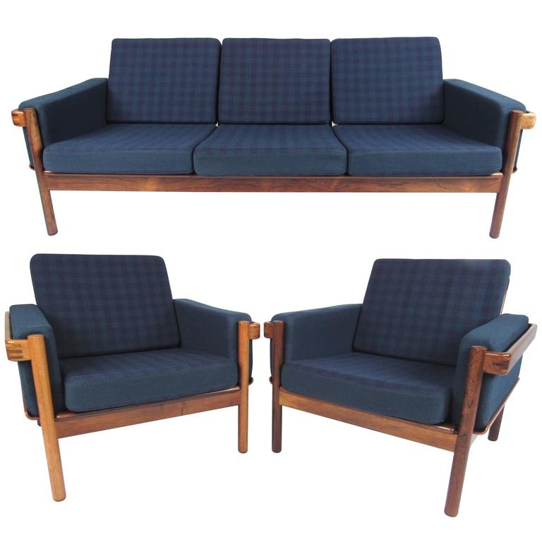 Danish Modern Living Room: Mid-Century Modern Danish Rosewood Living Room Set For
