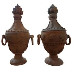 Large Pair of Neoclassical Style Terra Cotta Urns