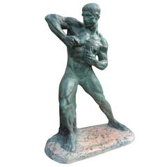 French Art Deco Terra Cotta Athlete Sculpture by Bargas