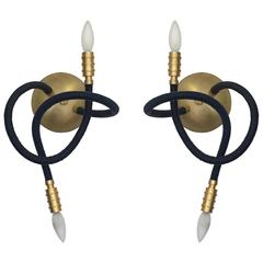 Pair of Midnight Blue Leather Flexible Arm Meander Wall Sconces