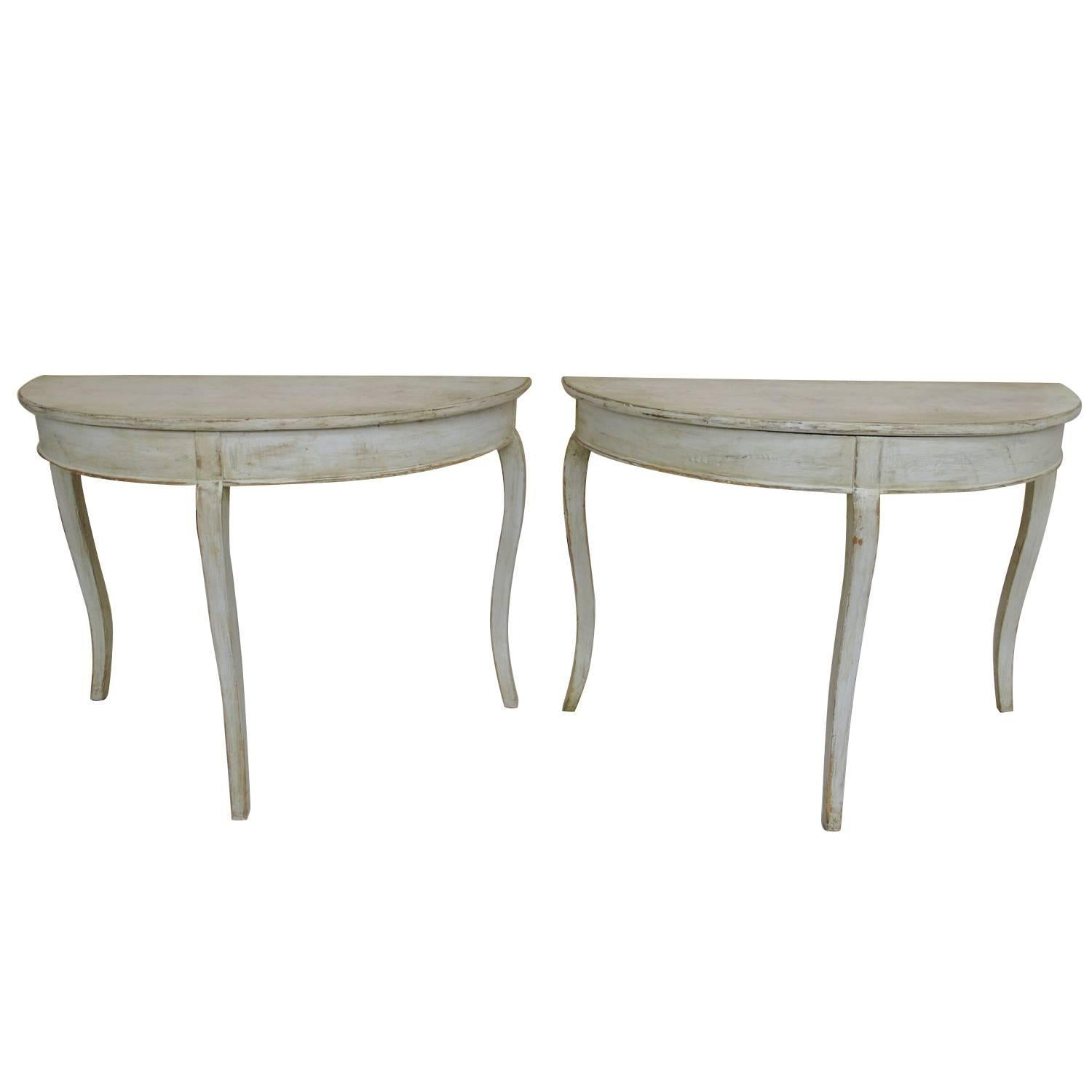 Pair of Swedish Rococo Demilune Bedside Tables or Console Dining