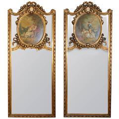 Pair of Louis XV Style Fete-Galante Giltwood Trumeau Mirrors