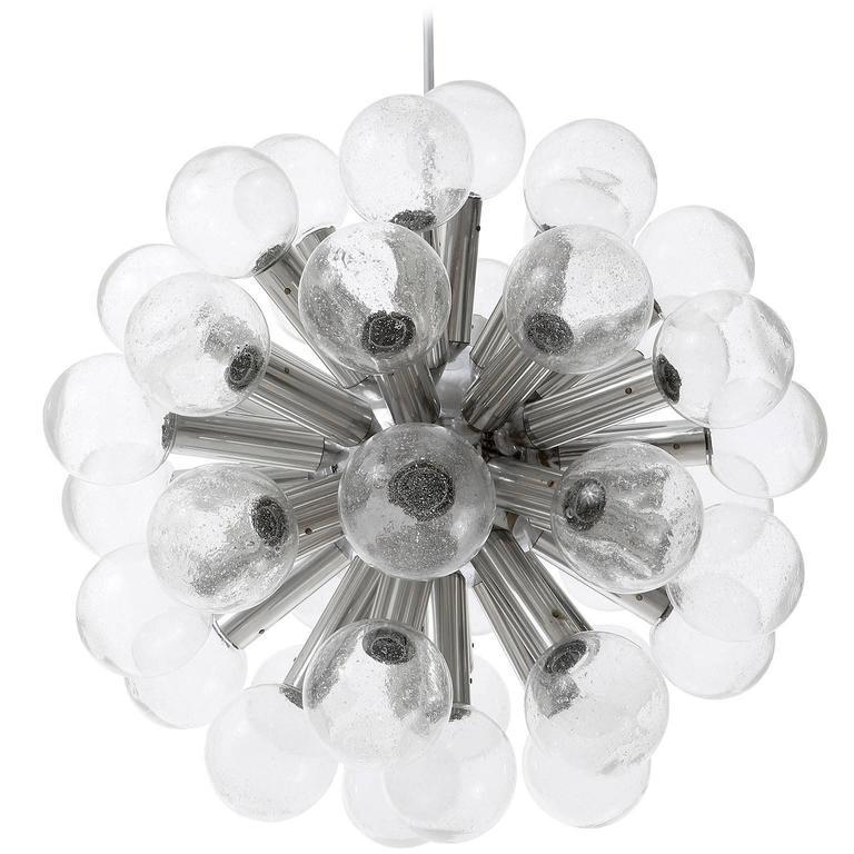 Kalmar Chandelier Pendant Light Sputnik Atomic 43-Arms Glass Aluminum 1970s