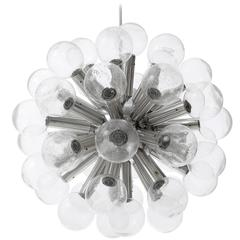 Kalmar Chandelier Pendant Light Sputnik Atomic 43-Arms Glass Aluminum 1970s