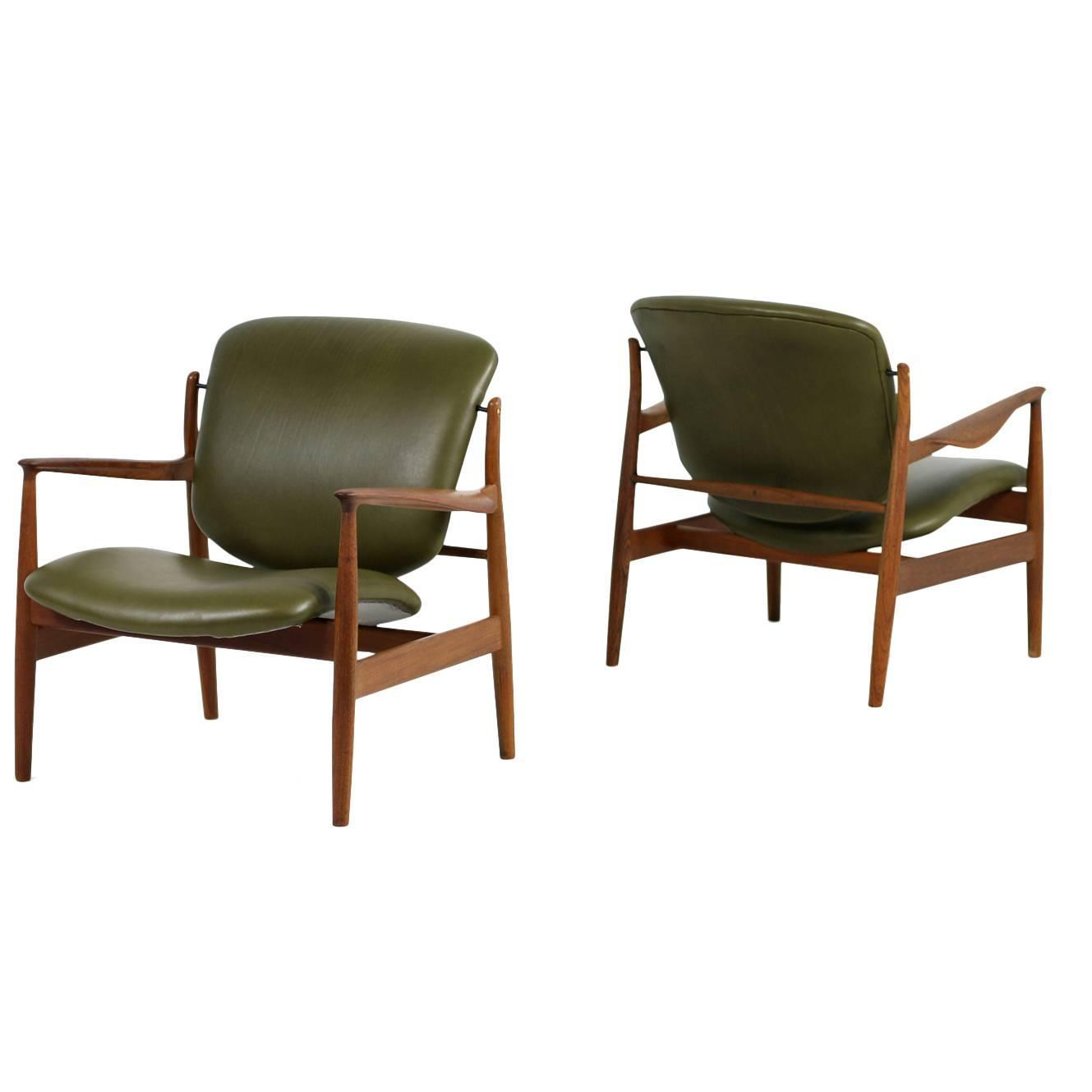 Superb Amazing Pair Of 1950s Finn Juhl Lounge Easy Chairs Mod. FD 136 Teak And  Leather For Sale At 1stdibs