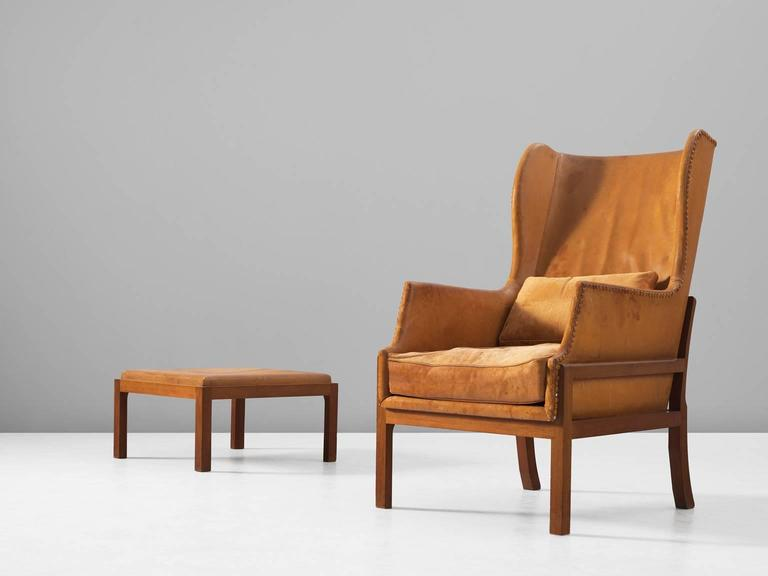 Scandinavian Modern Mogens Koch Wingback Lounge Chair In Mahogany And  Cognac Leather For Sale