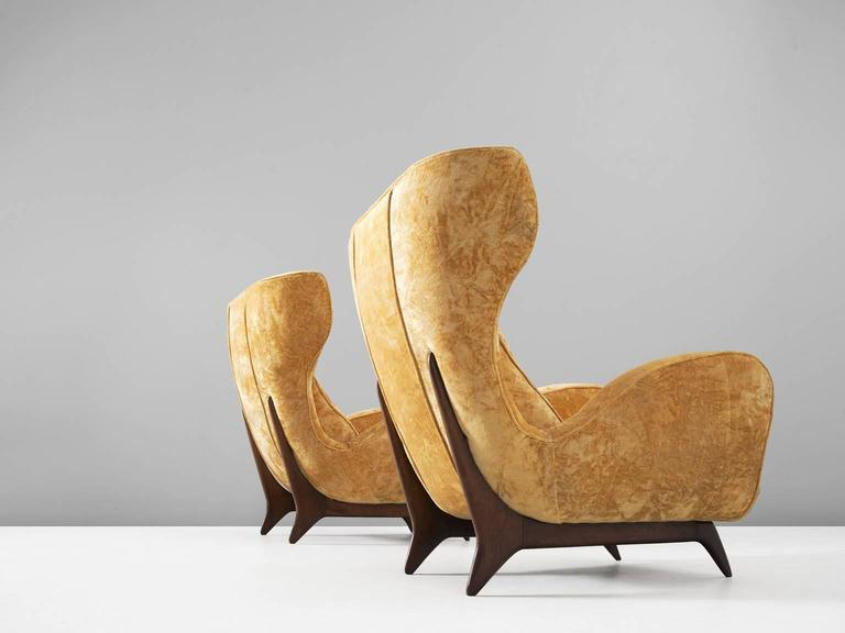 Mid-Century Modern Large Italian Wingback Chairs in Golden-Yellow Upholstery For Sale