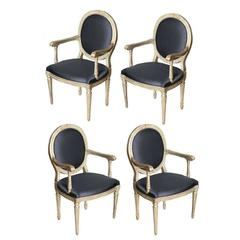 Rare Set of Four Italian Neoclassic Silver Gilt Armchairs