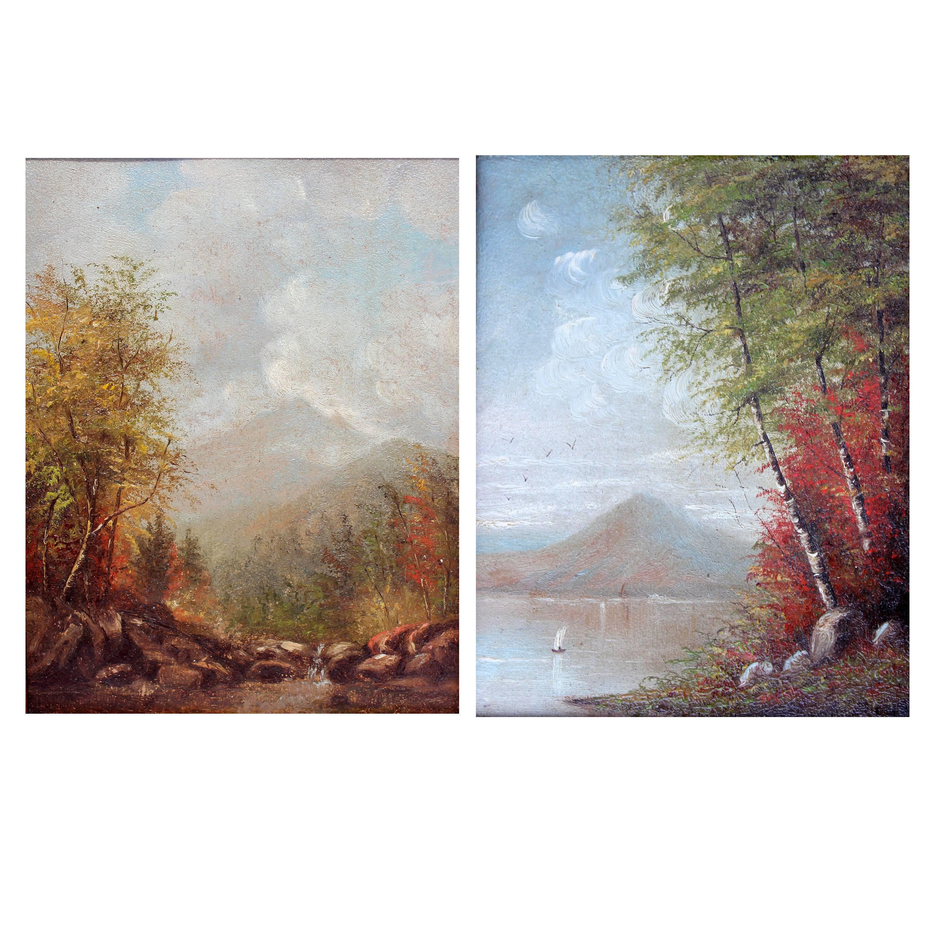 Hudson River School Autumn Landscape Oil Paintings
