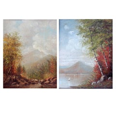 Hudson River School Autumn Landscape Oil Paintings