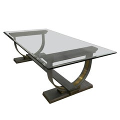 Dining Table Made of Steel and Brass Attributed to Arturo Pani
