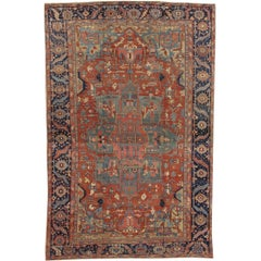 Antiker handgeknüpfter Heriz-Perserteppich, rostrot, dunkel- und hellblau