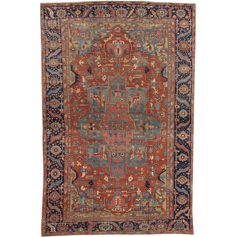 Antique Persian Heriz Carpet, Handmade Wool Oriental Rug, Rust, Navy, Light Blue For Sale