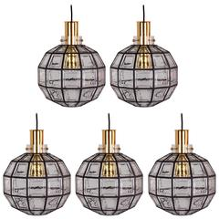 One of Five Large Iron & Clear Glass Round Pendant Lights by Limburg, circa 1965