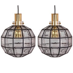 One of a Pair Large Iron & Clear Glass Round Pendant Lights by Limburg, c. 1965