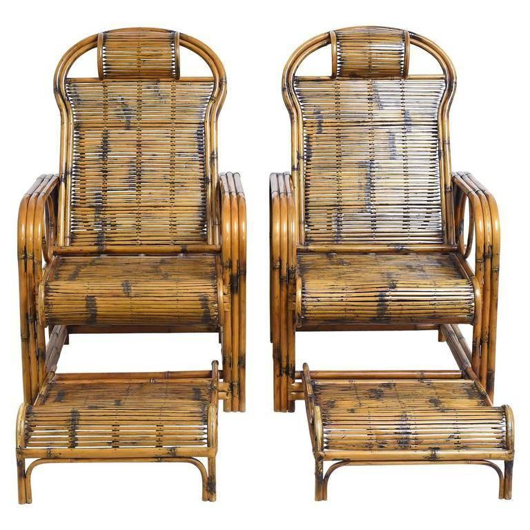 Delicieux Pair Of Bamboo Lounge Chairs With Sliding Foot Rests, French Indochina For  Sale