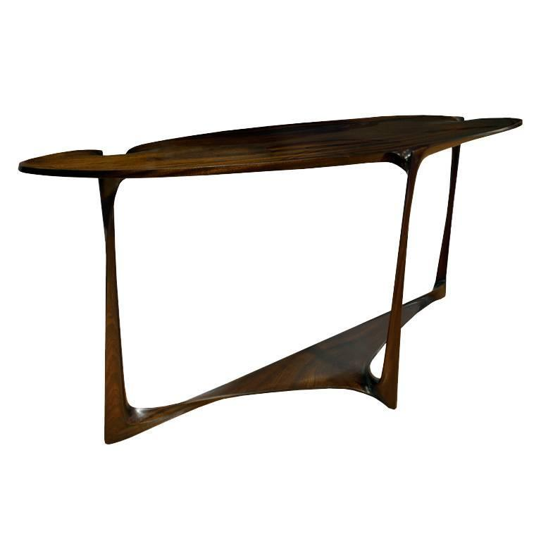 Hand Carved Sculptural Console Table