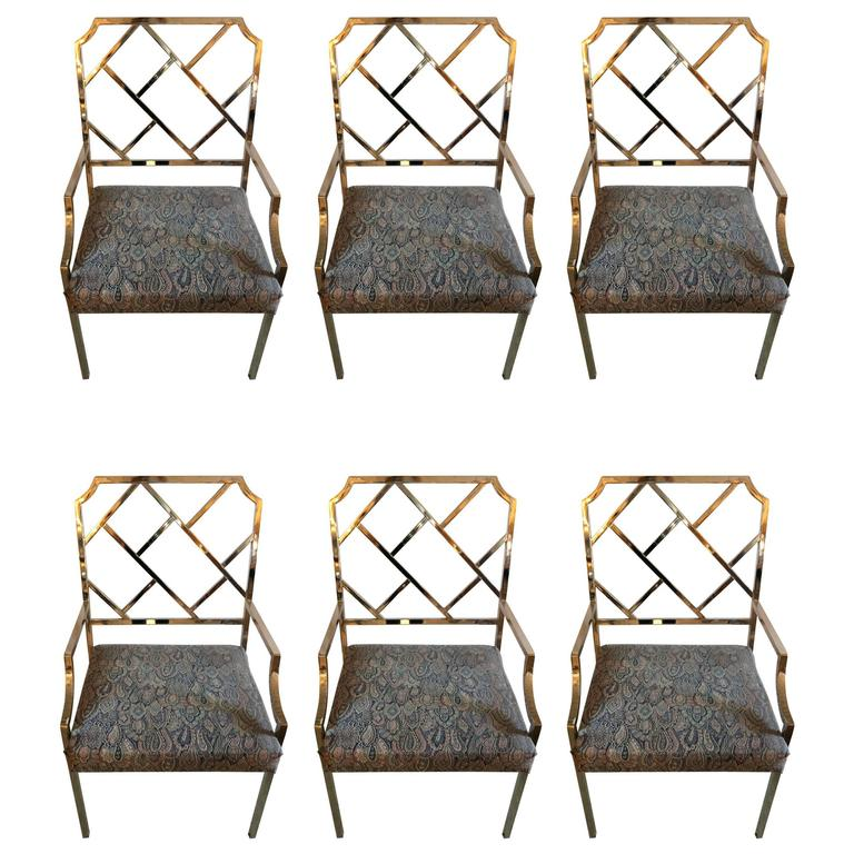 Sensational Set of Six DIA Chrome Chippendale Style Modern Dining Chairs