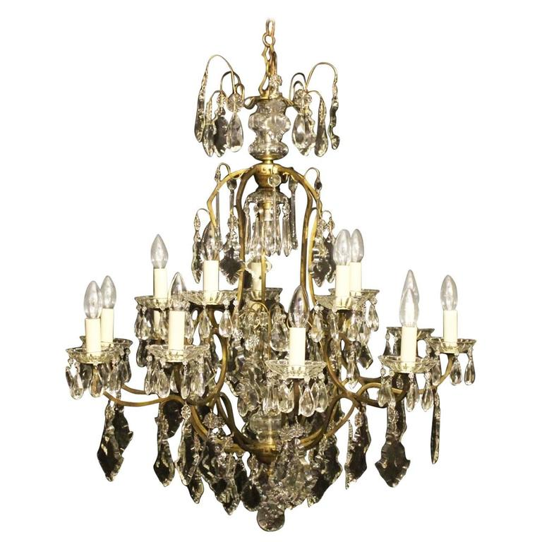 French Sixteen Light Antique Cage Chandelier At 1stdibs