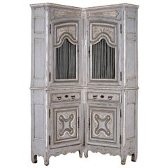 Antique French Louis XV Period Painted and Carved Corner Cabinet, circa 1740