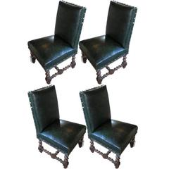 Set of Vintage French Green Leather Dining Chairs, France, circa 1870